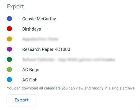 Screenshot of Google Calendar Export Screen